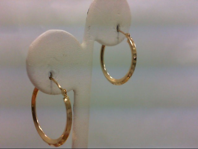 Gold Earrings 14K Pair of Quarter Coin Size Yellow Gold Hoop Earrings 1.2g