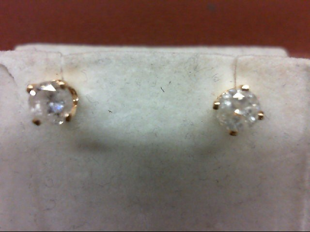 Gold-Diamond Earrings 2 Diamonds .44 Carat T.W. 14K Yellow Gold 0.09g