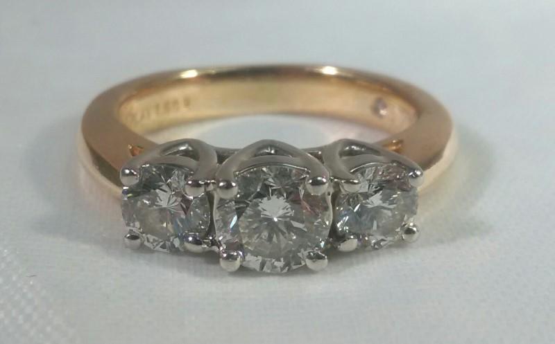 I.G.I Certified Leo Diamond 3-Stone 14K Yellow Gold & Platinum Engagement Ring