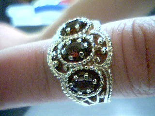 Synthetic Almandite Garnet Lady's Stone Ring 14K Yellow Gold 7.4g