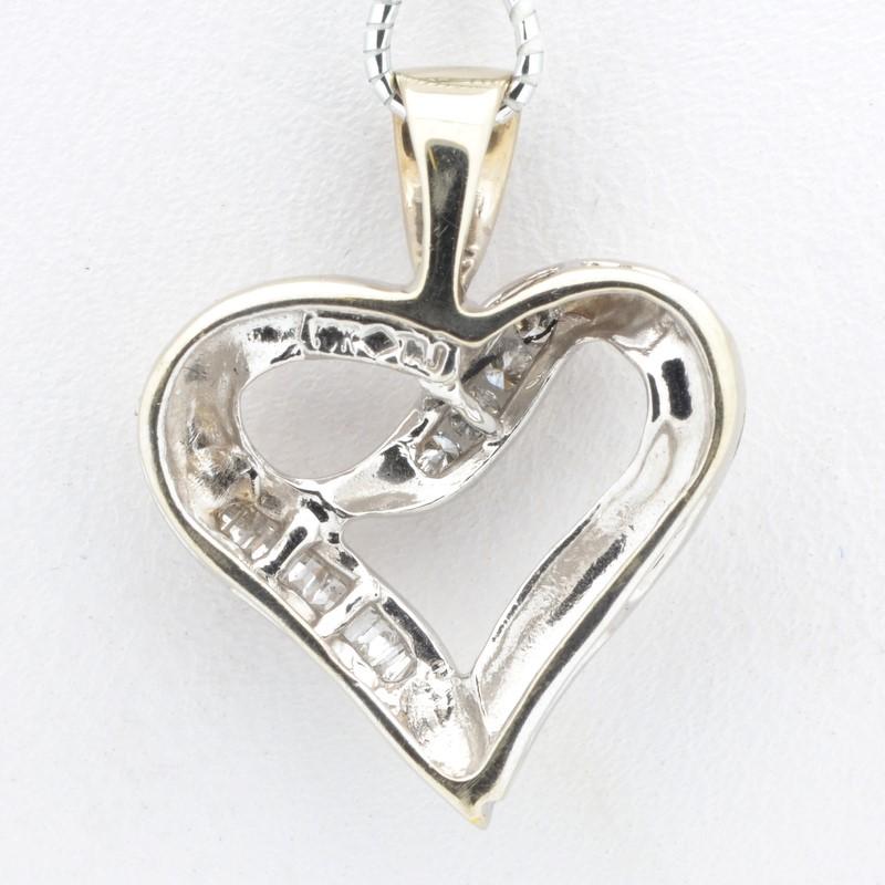 ESTATE DIAMOND HEART PENDANT CHARM SOLID 10K WHITE GOLD VALENTINE