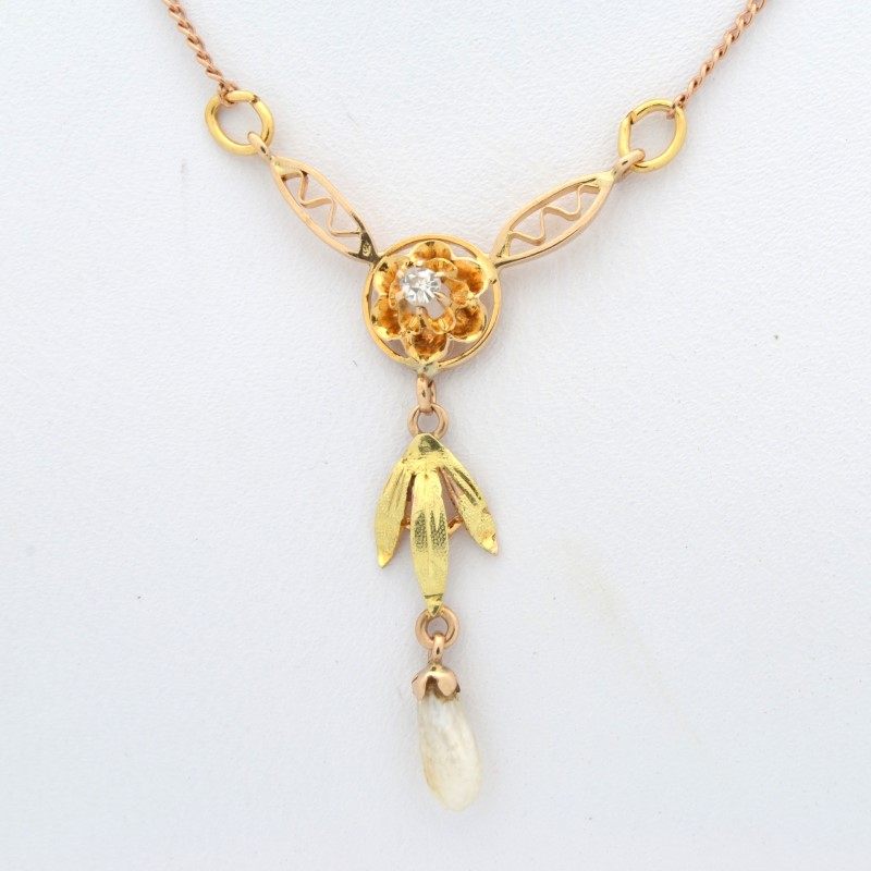 ESTATE DIAMOND NECKLACE PENDANT SOLID 14K GOLD CHEVRON V UNIQUE 19""