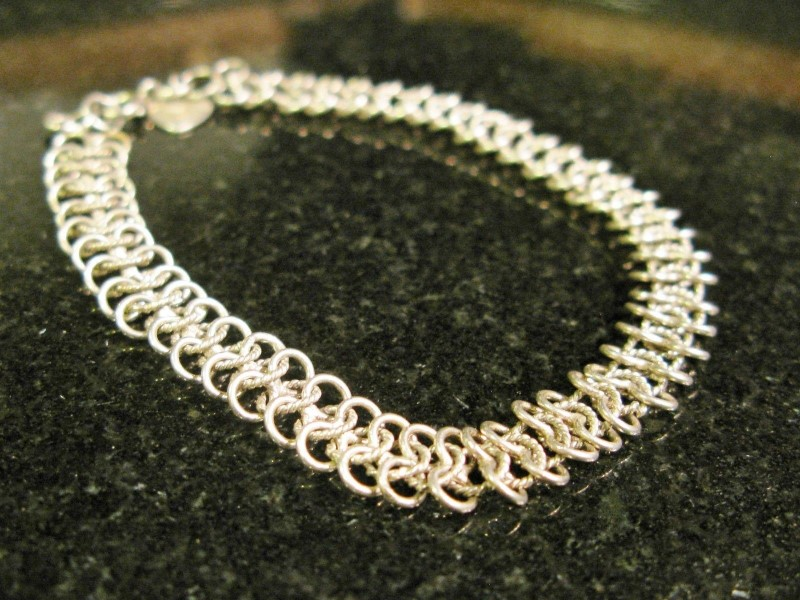 "Fine Sterling Silver Chainmaille Style Bracelet, 7-3/4"" and 5/16"" Wide"
