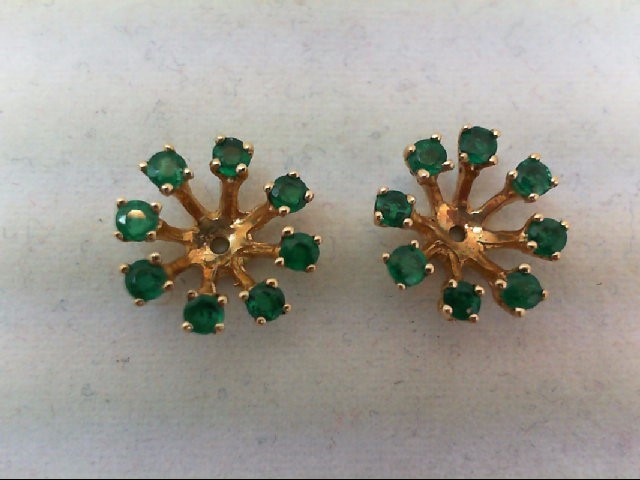 Emerald Gold-Stone Earrings 14K Yellow Gold 1.9g