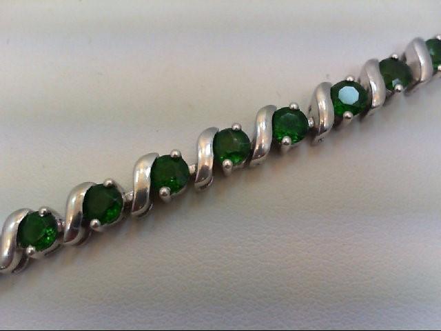 Green Tourmaline Silver-Stone Bracelet 925 Silver 13.6g