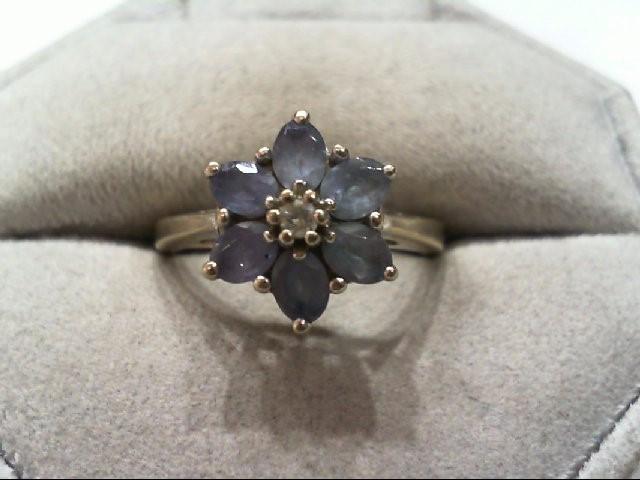Tanzanite Lady's Stone & Diamond Ring .03 CT. 14K White Gold 3.6g