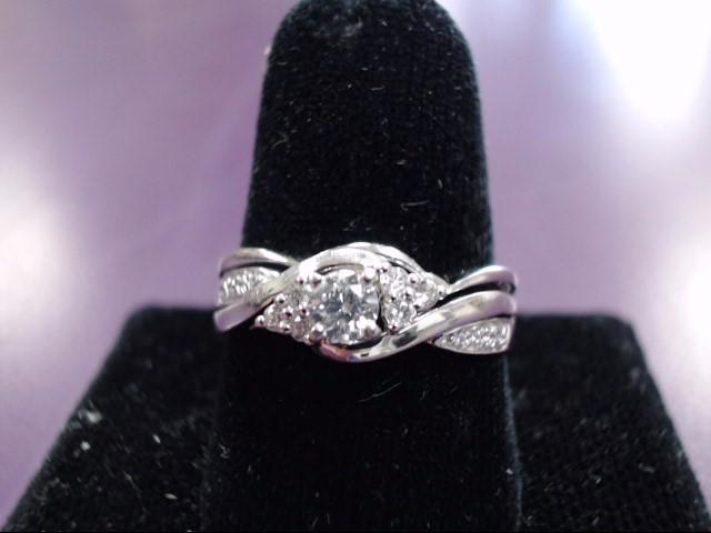 Lady's Diamond Engagement Ring 15 Diamonds .29 Carat T.W. 10K White Gold 3.6g