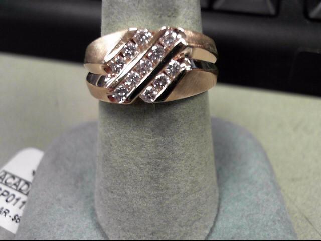 Gent's Diamond Cluster Ring 11 Diamonds .44 Carat T.W. 14K Yellow Gold 7.7g