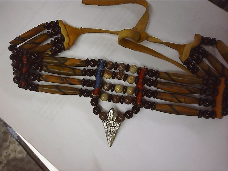 NATIVE AMERICAN CHOKER 50 ROUND BEADS (BRN-BLK-TAN) LEATHER ARROWHEAD WITH SKULL