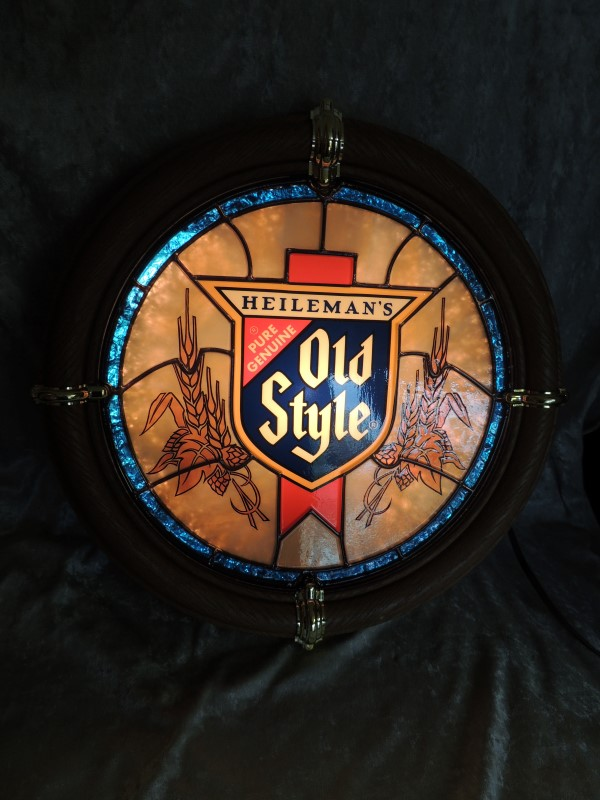 "Old Style Lighted Stained Glass 'look' Beer Sign Great Shape 16"" Round"