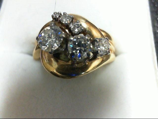 Lady's Diamond Wedding Set 6 Diamonds 0.85 Carat T.W. 14K Yellow Gold 5.6g