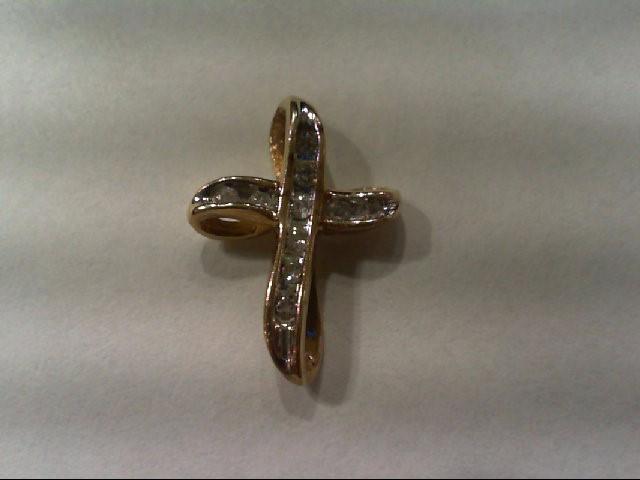 Gold-Multi-Diamond Pendant 10 Diamonds .10 Carat T.W. 14K Yellow Gold 1.2g