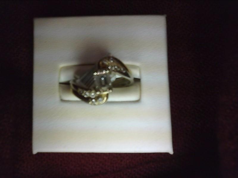 .40 EMERALD CUT DIAMOND WITH FIVE BEAD SET DIA SIZE 7