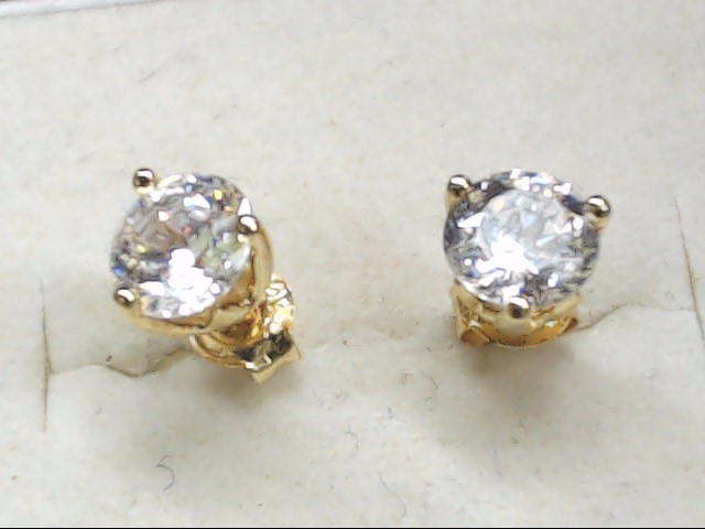 Synthetic Cubic Zirconia Gold-Stone Earrings 14K Yellow Gold 1g