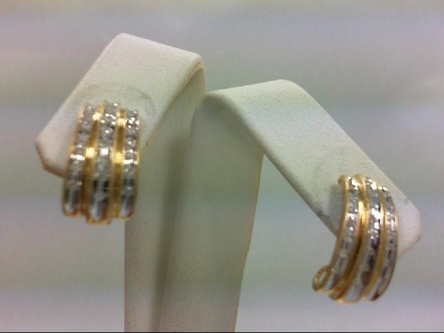 Gold-Diamond Earrings 44 Diamonds 0.44 Carat T.W. 10K 2 Tone Gold 3.4g