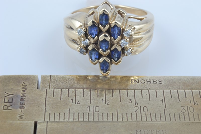ESTATE SAPPHIRE BLUE DIAMOND CLUSTER RING SOLID 14K GOLD SIZE 8.5