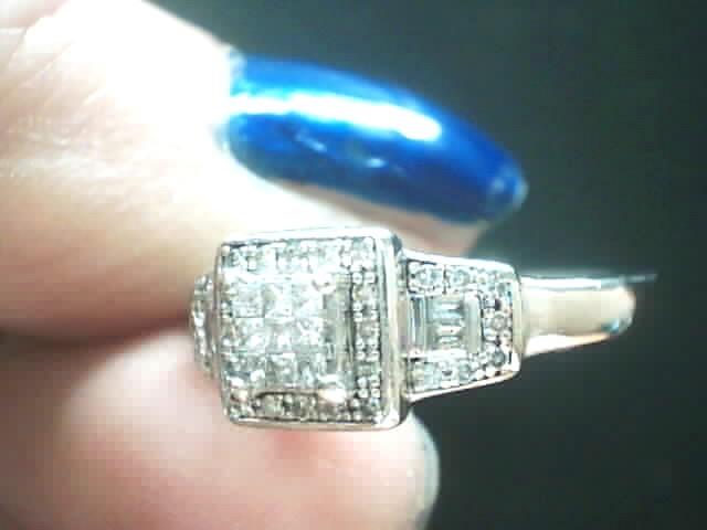 Lady's Silver-Diamond Ring 46 Diamonds .46 Carat T.W. 925 Silver 2.7dwt