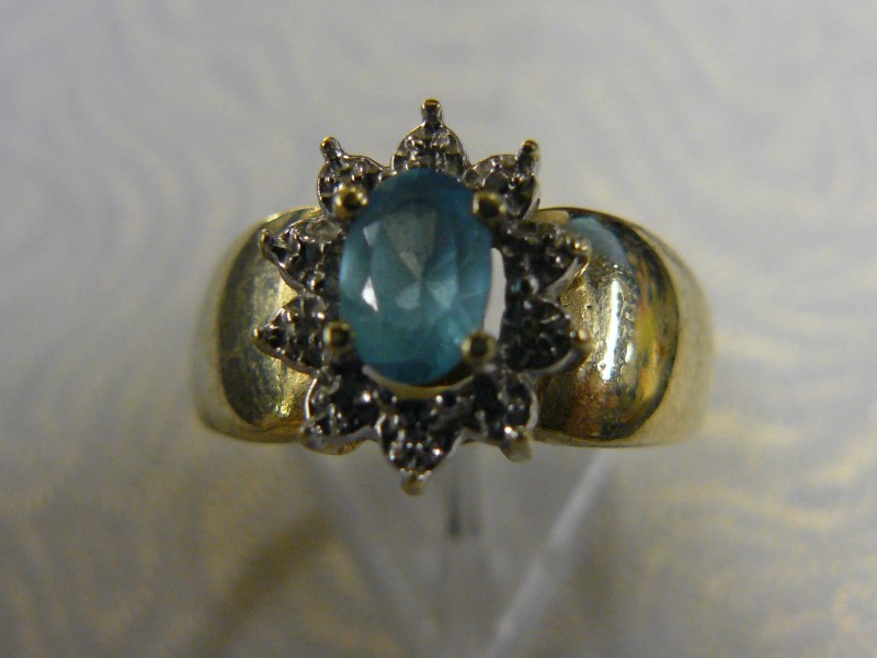 Synthetic Blue Topaz Lady's Stone Ring 10K Yellow Gold 1.5dwt Size:6