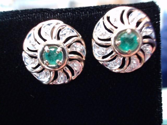 Emerald Earrings 14K Yellow Gold