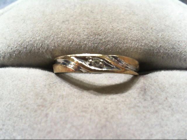 Lady's Diamond Wedding Band .01 CT. 10K 2 Tone Gold 1.1g