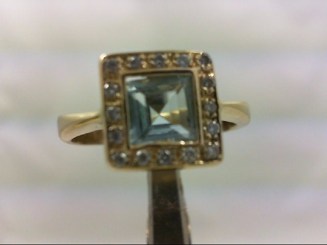 Aquamarine Lady's Stone & Diamond Ring 16 Diamonds .16 Carat T.W.