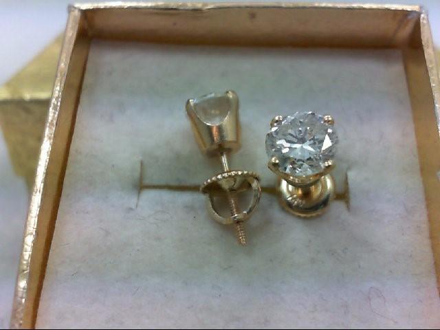 Gold-Diamond Earrings 2 Diamonds 1.76 Carat T.W. 14K Yellow Gold 1.6g