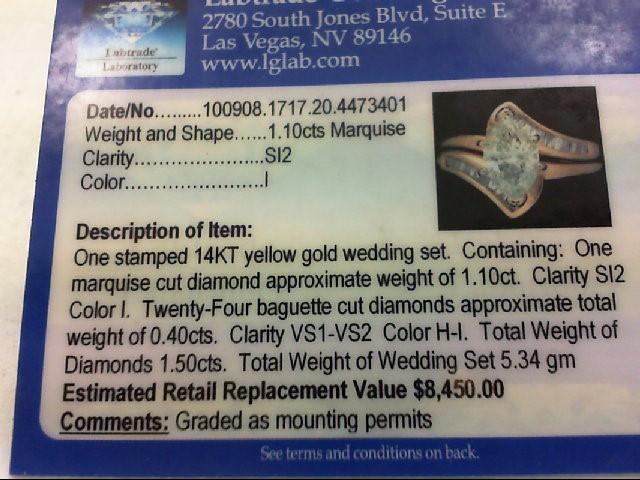 Lady's Diamond Wedding Set 25 Diamonds 1.58 Carat T.W. 14K Yellow Gold 5.34g