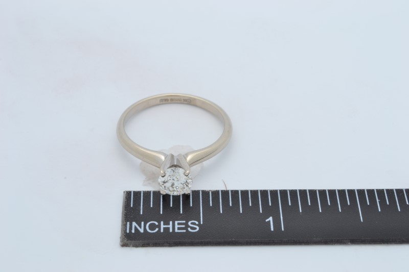 VINTAGE NATURAL DIAMOND SOLITAIRE RING SOLID 14K WHITE GOLD ENGAGE