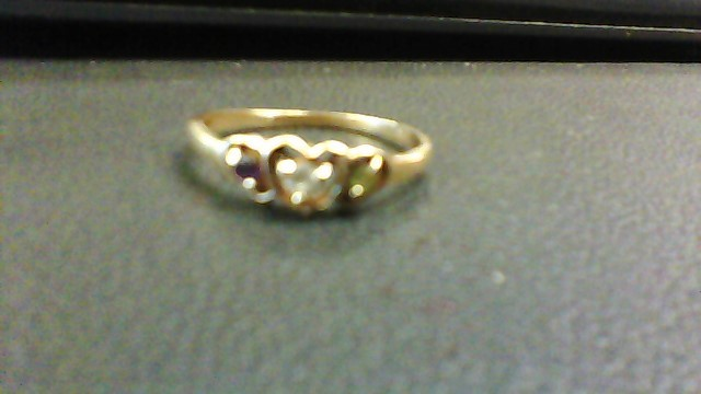 Synthetic Amethyst Lady's Stone Ring 10K Yellow Gold 1.3g