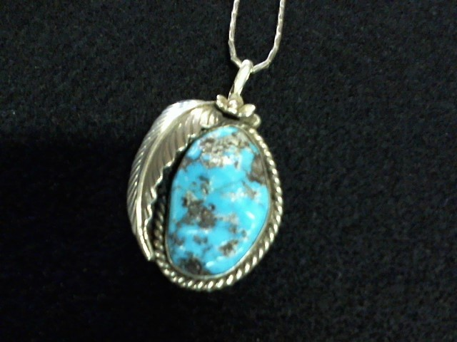 Turquoise Silver-Stone Pendant 925 Silver 9.8dwt