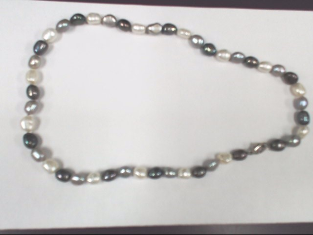 "17"" Pearl Stone Necklace Silver toned clasp 29.9g"
