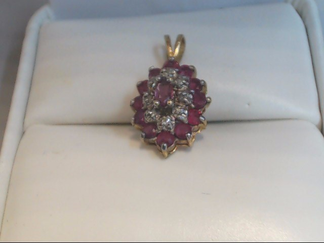 ESTATE RUBY DIAMOND PENDANT CHARM SOLID 10K GOLD CLUSTER RED OVAL