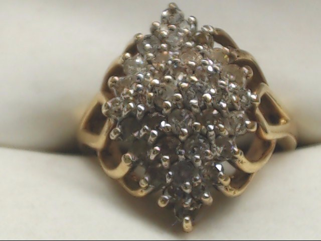 Lady's Diamond Cluster Ring 31 Diamonds .93 Carat T.W. 10K Yellow Gold 3.8g