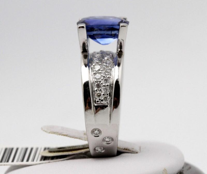 Sapphire Lady's & Diamond Ring 32 Diamonds .88 Carat T.W. 18K White Gold