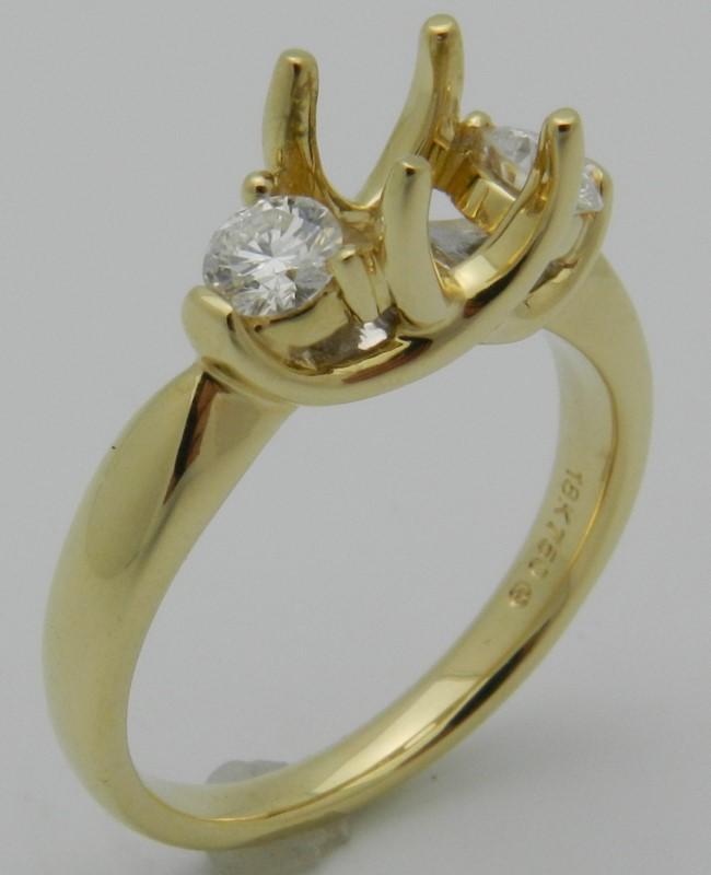 Lady's Diamond Engagement Ring 2 Diamonds .38 Carat T.W. 18K Yellow Gold 5.1g