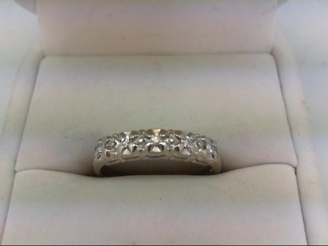 Lady's Diamond Wedding Band 5 Diamonds 0.05 Carat T.W. 14K White Gold 2.2g