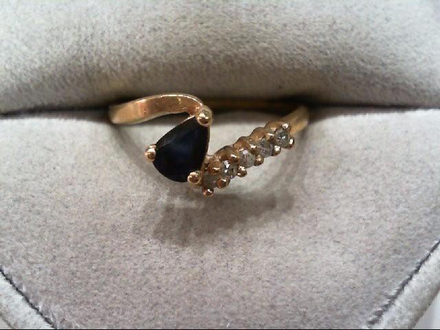 Sapphire Lady's Stone & Diamond Ring 5 Diamonds .10 Carat T.W. 10K Yellow Gold