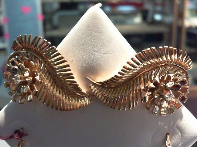 Gold-Diamond Earrings 2 Diamonds .06 Carat T.W. 14K Yellow Gold 14.6g
