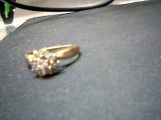 Lady's Diamond Cluster Ring 9 Diamonds .66 Carat T.W. 14K Yellow Gold 3.1g
