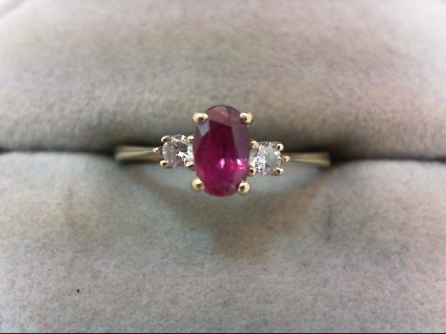 Ruby Lady's Stone & Diamond Ring 2 Diamonds .10 Carat T.W. 14K Yellow Gold 1.8g