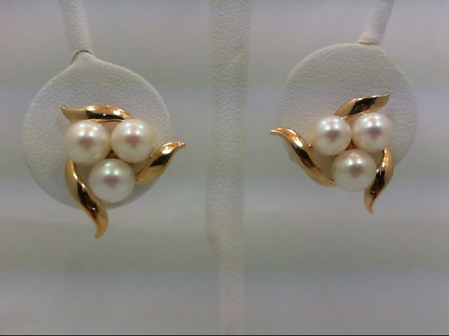 Pearl Gold-Stone Earrings 14K Yellow Gold 5.9g
