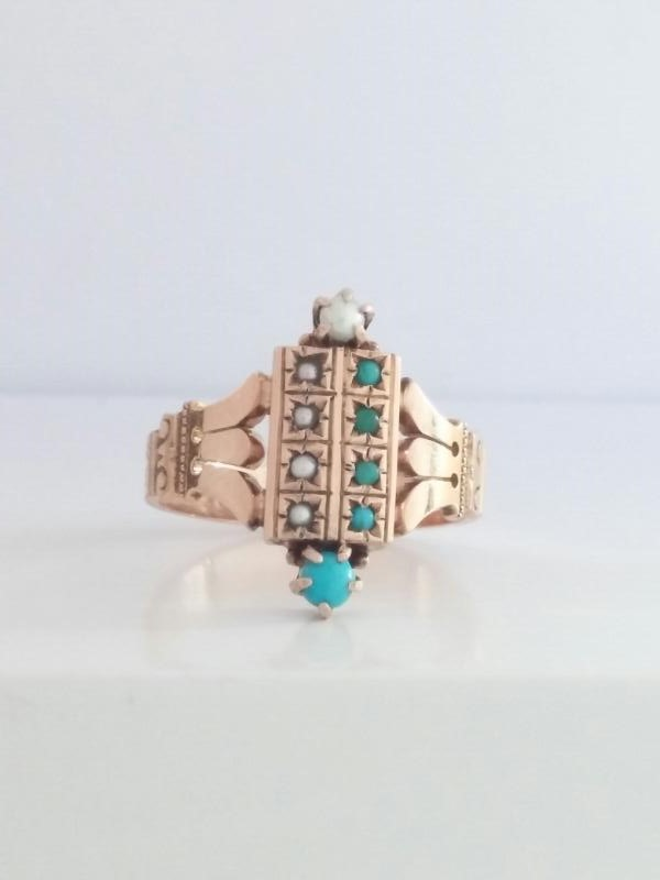 Turquoise Lady's Stone Ring 14K Rose Gold 3.47g Fall