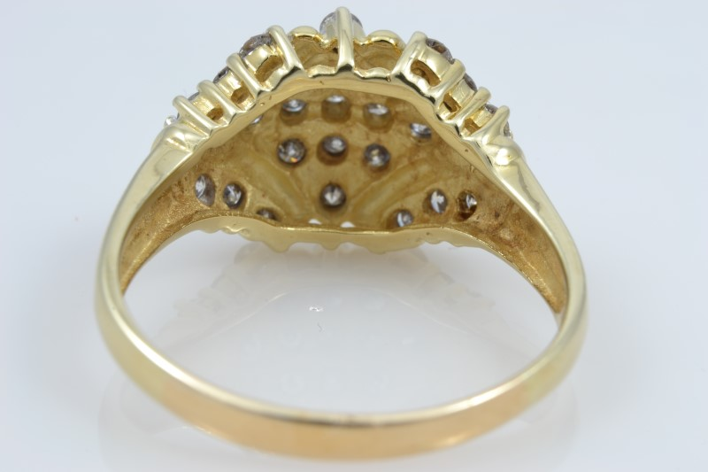 ESTATE DIAMOND CLUSTER RING SOLID 10K YELLOW GOLD COCKTAIL SIZE 9.5