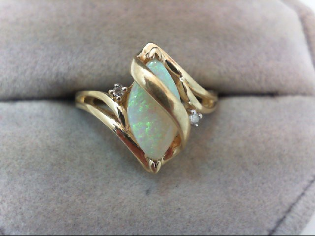 Opal Lady's Stone & Diamond Ring 2 Diamonds .02 Carat T.W. 10K Yellow Gold 2.7g