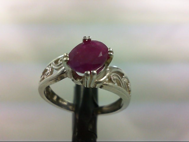 Ruby Lady's Silver & Stone Ring 925 Silver 3.3g