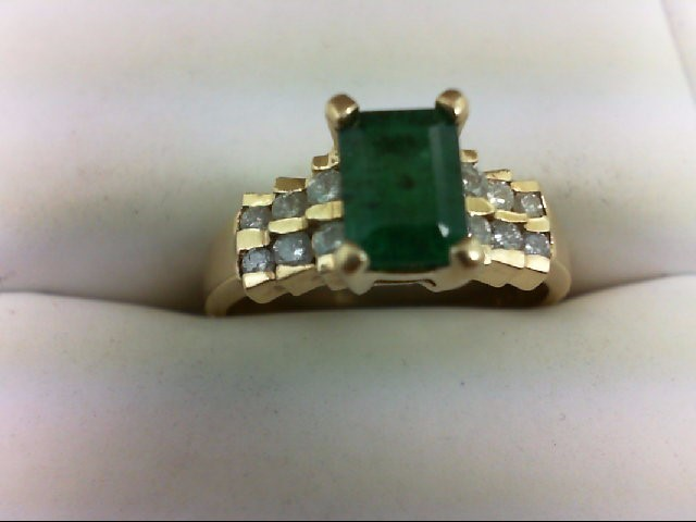 Emerald Lady's Stone & Diamond Ring 12 Diamonds 0.4 Carat T.W. 14K Yellow Gold 3