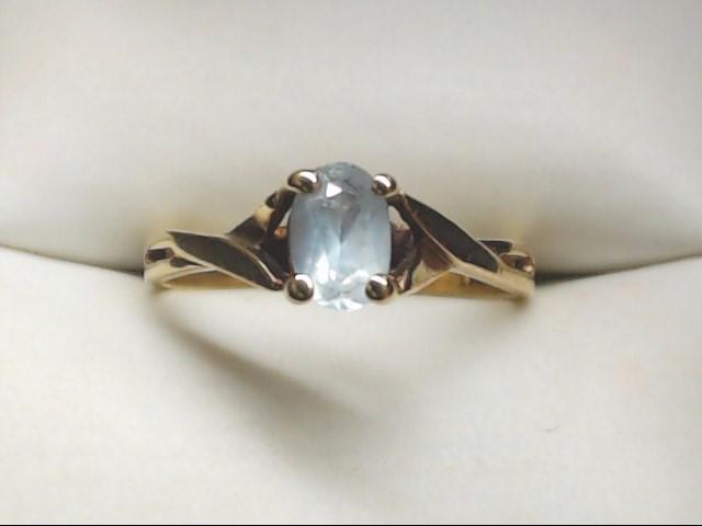 Blue Stone Lady's Stone Ring 10K Yellow Gold 2g Size:6.5