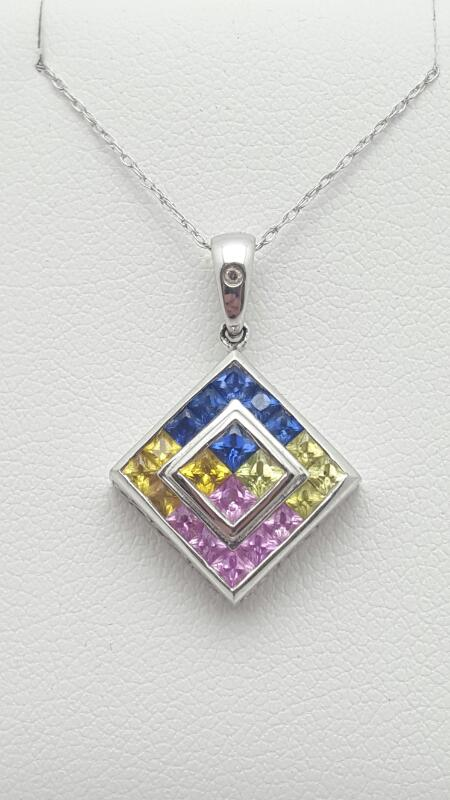 multicolor Necklace 10K White Gold 2.3g