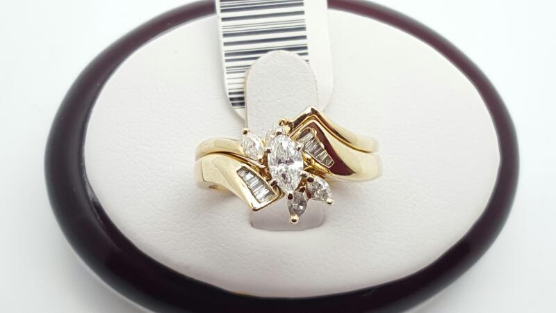 Lady's Diamond Wedding Set 15 Diamonds .55 Carat T.W. 14K Yellow Gold 6.5g
