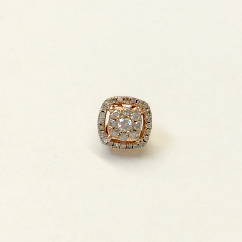 Gold-Diamond Earrings 45 Diamonds .56 Carat T.W. 10K Rose Gold 0.8dwt